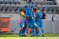 LOS ANGELES, CA - MAY 29: Jesús Medina #19 of NYCFC shoots on goal scores and celebrates with Valentín Castellanos #11 during a game between New York City FC and Los Angeles FC at Banc of California Stadium on May 29, 2021 in Los Angeles, California.