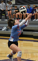 Southside Tinsley Freeman (25) digs, Thursday, September 10, 2020 during a volleyball game at Fayetteville High School in Fayetteville. Check out nwaonline.com/200911Daily/ for today's photo gallery. <br /> (NWA Democrat-Gazette/Charlie Kaijo)