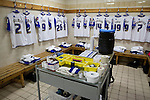 Tranmere Rovers 0 Stoke City 2, 25/09/2013. Capitol One Cup, Prenton Park. The home team's kit laid out in the dressing room at Prenton Park before Tranmere Rovers host Stoke City in a Capital One Cup third round match. The Capital One cup was formerly known as the League Cup and was competed for by all 92 English Premier League and Football League clubs. Visitors Stoke City won the match 2-0, watched by a crowd of 5,559 spectators. Photo by Colin McPherson