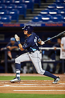 Charlotte Stone Crabs designated hitter Josh Lowe (28) follows through on a swing during the second game of a doubleheader against the St. Lucie Mets on April 24, 2018 at First Data Field in Port St. Lucie, Florida.  St. Lucie defeated Charlotte 5-3.  (Mike Janes/Four Seam Images)
