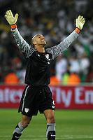 Tim Howard of USA celebrates his sides win against Algeria.