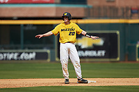 Chad McDaniel (20) of the Missouri Tigers thinks he was safe after attempting to steal second base during the game against the Oklahoma Sooners in game four of the 2020 Shriners Hospitals for Children College Classic at Minute Maid Park on February 29, 2020 in Houston, Texas. The Tigers defeated the Sooners 8-7. (Brian Westerholt/Four Seam Images)