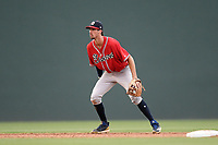 Shortstop Braden Shewmake (39), an Atlanta Braves' First-Round pick (21st overall) out of Texas A&M in the 2019 MLB Draft, now with the Rome Braves, tracks a ground ball in a game against the Greenville Drive on Thursday, June 27, 2019, at Fluor Field at the West End in Greenville, South Carolina. Rome won, 4-3. (Tom Priddy/Four Seam Images)