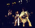 Queen 1975 Freddie Mercury, John Deacon and Brian May.© Chris Walter.
