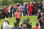 Tongchai Jaidee acknowledges the support from the crowd after he sinks his par putt on the 7th hole during the final round of the ISPS Handa Wales Open 2012..03.06.12.©Steve Pope