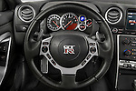 Steering wheel view of a 2009 Nissan GTR Coupe