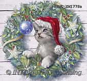 Marcello, CHRISTMAS ANIMALS, WEIHNACHTEN TIERE, NAVIDAD ANIMALES, paintings+++++,ITMCXM1778A,#XA# ,Christmas wreath ,cat