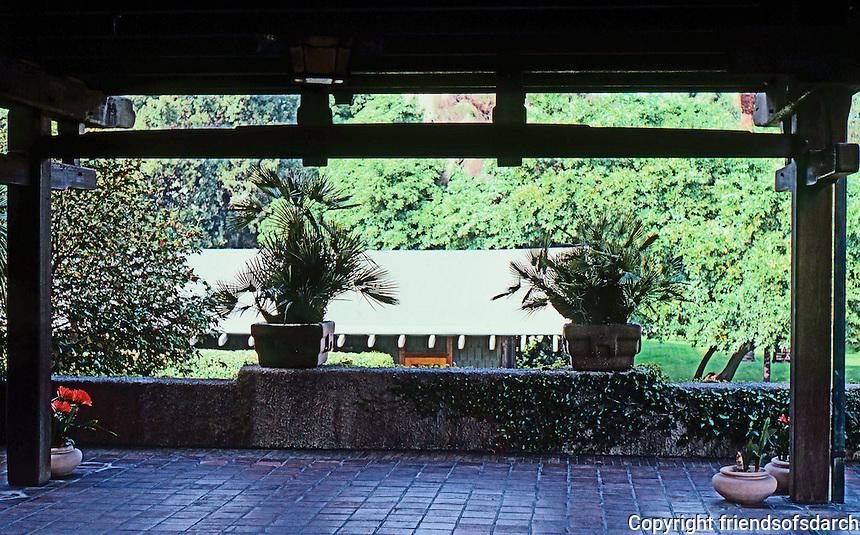 Greene & Greene: Gamble House. Porch.  Photo '85.