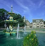 New Zealand, South Island, Christchurch: Peacock Fountain in Botanical Gardens | Neuseeland, Suedinsel, Christchurch: Pfauenbrunnen im Botanischen Garten