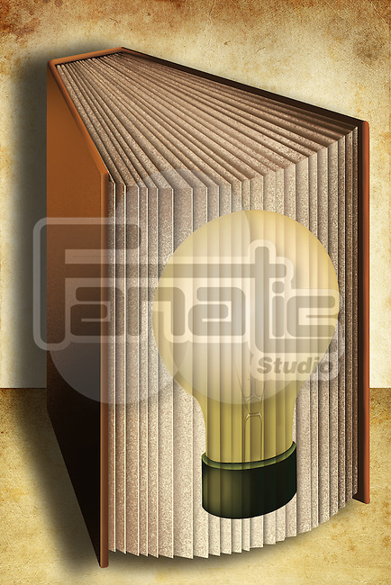 Illustrative image of book with light bulb representing ideas