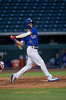 AZL Cubs 1 Ezequiel Pagan (1) at bat during an Arizona League game against the AZL Angels on June 24, 2019 at Sloan Park in Mesa, Arizona. AZL Cubs 1 defeated the AZL Angels 12-0. (Zachary Lucy / Four Seam Images)