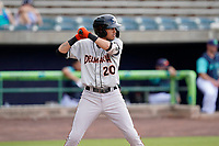 Lamar Sparks (20) of the Delmarva Shorebirds in a game against the Lynchburg Hillcats on Wednesday, August 11, 2021, at Bank of the James Stadium in Lynchburg, Virginia. (Tom Priddy/Four Seam Images)