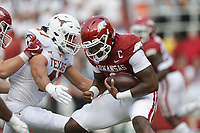 Arkansas quarterback KJ Jefferson (1) carries the ball, Saturday, September 11, 2021 during the first quarter of a football game at Reynolds Razorback Stadium in Fayetteville. Check out nwaonline.com/210912Daily/ for today's photo gallery. <br /> (NWA Democrat-Gazette/Charlie Kaijo)