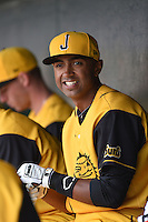 Jacksonville Suns  outfielder Isaac Galloway (23) in the dugout during a game against the Pensacola Blue Wahoos on April 20, 2014 at Bragan Field in Jacksonville, Florida.  Jacksonville defeated Pensacola 5-4.  (Mike Janes/Four Seam Images)