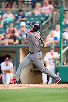 Lehigh Valley IronPigs shortstop Danny Espinosa (3) follows through on a swing during a game against the Rochester Red Wings on June 30, 2018 at Frontier Field in Rochester, New York.  Lehigh Valley defeated Rochester 6-2.  (Mike Janes/Four Seam Images)
