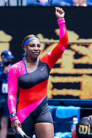 8th February 2021, Melbourne, Victoria, Australia;  Serena Williams of the United States of America celebrates after winning her match during round 1 of the 2021 Australian Open on February 8 2020