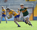Cillian Rouine of Clare in action against Darragh Lyne of Kerry during their Munster Minor football final at Pairc Ui Chaoimh. Photograph by John Kelly.