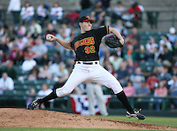 2007:  Jeremy Cummings of the Rochester Red Wings delivers a pitch at Frontier Field during an International League baseball game. Photo By Mike Janes/Four Seam Images