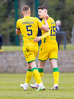 18th April 2021; Stair Park, Stranraer, Dumfries, Scotland; Scottish Cup Football, Stranraer versus Hibernian; Kevin Nisbet of Hibernian celebrates after scoring for 02- in the 64th minute with Ryan Porteous of Hibernian