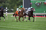 JUL 12,2014:Divine Oath,ridden by Florent Geroux,(saddle number2)wins the American Derby at Arlington Park in Arlington Heights,IL. Kazushi Ishida/ESW/CSM