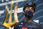 Egan Bernal (COL) Ineos Grenadiers at sign on before the start of Stage 4 of Tirreno-Adriatico Eolo 2021, running 148km from Terni to Prati di Tivo, Italy. 13th March 2021. <br /> Photo: LaPresse/Marco Alpozzi | Cyclefile<br /> <br /> All photos usage must carry mandatory copyright credit (© Cyclefile | LaPresse/Marco Alpozzi)