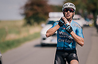 Sean de Bie (BEL/Verandas Willems-Crelan) stuffing himself with bidons for his teammates<br /> <br /> 98th Brussels Cycling Classic 2018<br /> One Day Race:  Brussels > Brussels (201km)