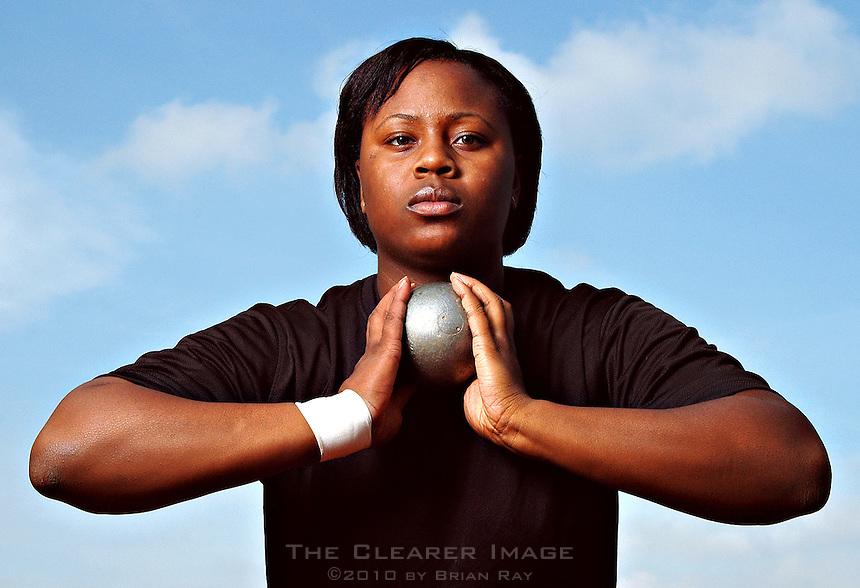 UT shot-putter Michelle Clark poses for a portrait 2/23/05.