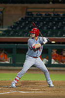 AZL Reds first baseman Justin Bellinger (57) at bat against the AZL Giants on August 12, 2017 at Scottsdale Stadium in Scottsdale, Arizona. AZL Giants defeated the AZL Reds 1-0. (Zachary Lucy/Four Seam Images)