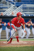 Williamsport Crosscutters shortstop Nick Maton (6) follows through on a swing during a game against the Batavia Muckdogs on August 3, 2017 at Dwyer Stadium in Batavia, New York.  Williamsport defeated Batavia 2-1.  (Mike Janes/Four Seam Images)