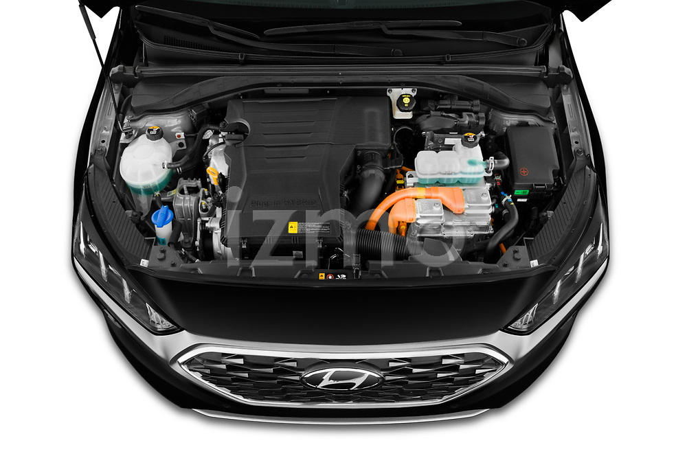 Car Stock 2020 Hyundai Ioniq-Plug-In-Hybrid Shine 5 Door Hatchback Engine  high angle detail view