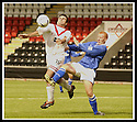 17/8/02               Copyright Pic : James Stewart                     .File Name : stewart-airdrie v stranraer 03.AIRDRIE'S STEPHEN DOCHERTY AND STRANRAER'S KEIN GAUGHAN CHALLENGE FOR THE BALL......James Stewart Photo Agency, 19 Carronlea Drive, Falkirk. FK2 8DN      Vat Reg No. 607 6932 25.Office : +44 (0)1324 570906     .Mobile : + 44 (0)7721 416997.Fax     :  +44 (0)1324 570906.E-mail : jim@jspa.co.uk.If you require further information then contact Jim Stewart on any of the numbers above.........