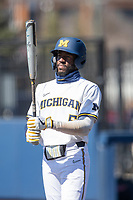 Michigan Wolverines outfielder Christian Bullock (5) at the plate during the NCAA baseball game against the Illinois Fighting Illini on March 20, 2021 at Fisher Stadium in Ann Arbor, Michigan. Michigan won the game 8-1. (Andrew Woolley/Four Seam Images)