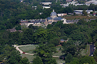 aerial photograph of the East Tennessee State Veterans Cemetery with the Cathedral of the Most Sacred Heart of Jesus in the background, Knoxville, Knox County, Tennessee