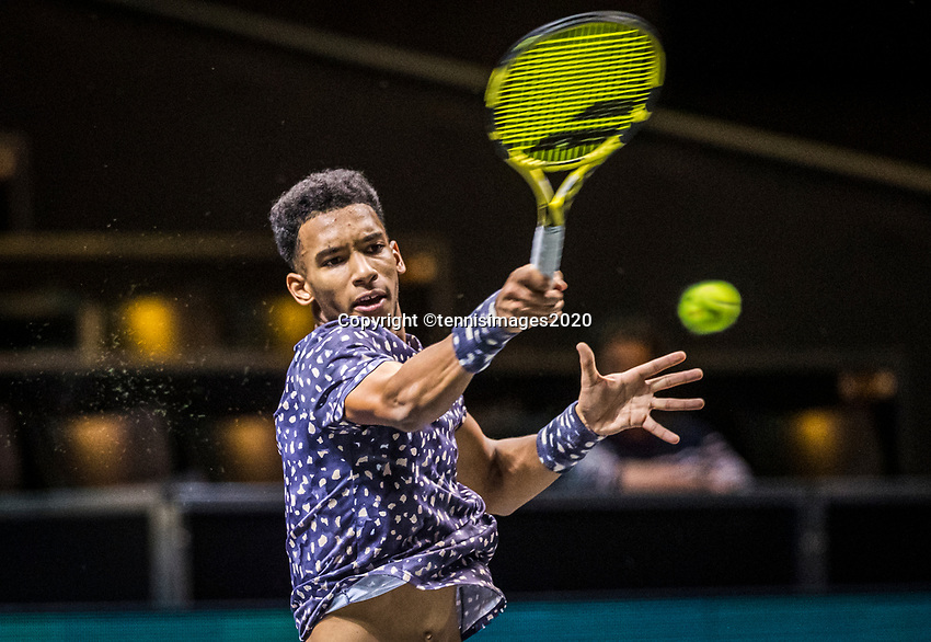 Rotterdam, The Netherlands, 15 Februari 2020, ABNAMRO World Tennis Tournament, Ahoy,  Felix Auger-Alissime (CAN).<br /> <br /> Photo: www.tennisimages.com