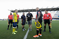 SAN JOSE, CA - AUGUST 03: Coin Toss, Wil Trapp, Magnus Eriksson  prior to a Major League Soccer (MLS) match between the San Jose Earthquakes and the Columbus Crew on August 03, 2019 at Avaya Stadium in San Jose, California.
