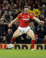 George North of Wales chases the ball seconds before he scored a try during the Wales v France, 2016 RBS 6 Nations Championship, at the Principality Stadium, Cardiff, Wales, UK