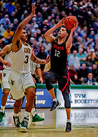 16 December 2018: Northeastern University Huskies Guard Jordan Roland, a Redshirt Junior from Syracuse, NY, in second half action against the University of Vermont Catamounts at Patrick Gymnasium in Burlington, Vermont. The Catamounts defeated the Huskies 75-70 in NCAA Division I America East play. Mandatory Credit: Ed Wolfstein Photo *** RAW (NEF) Image File Available ***