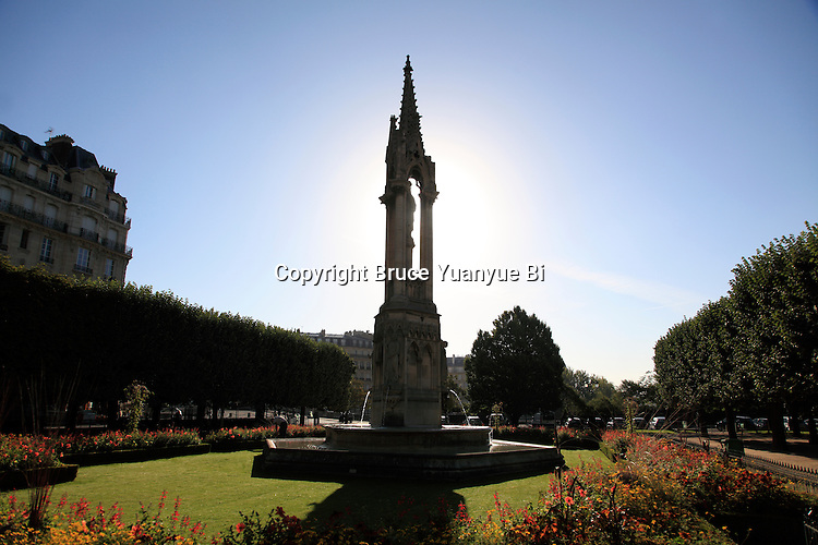 The Fountain of the Virgin in Square Jean XXIII. city of Paris. Paris. France