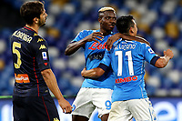 Hirving Lozano of SSC Napoli (R) celebrates after scoring the goal of 4-0 with Victor Osimhen during the Serie A football match between SSC Napoli and Genoa CFC at San Paolo stadium in Napoli (Italy), September 27th, 2020. Photo Cesare Purini / Insidefoto
