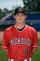 Batavia Muckdogs Luke Jarvis (8) poses for a photo on July 2, 2018 at Dwyer Stadium in Batavia, New York.  (Mike Janes/Four Seam Images)