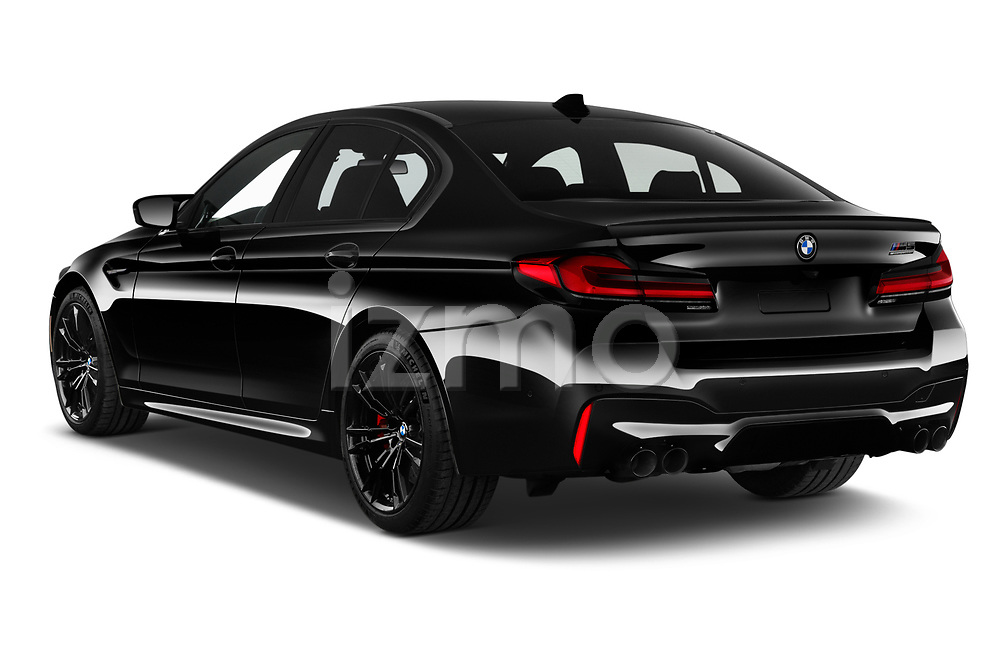 Car pictures of rear three quarter view of 2021 BMW M5 Competition 4 Door Sedan Angular Rear