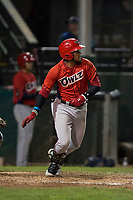 Orem Owlz third baseman Kevin Maitan (9) starts down the first base line during a Pioneer League game against the Helena Brewers at Kindrick Legion Field on August 21, 2018 in Helena, Montana. The Orem Owlz defeated the Helena Brewers by a score of 6-0. (Zachary Lucy/Four Seam Images)