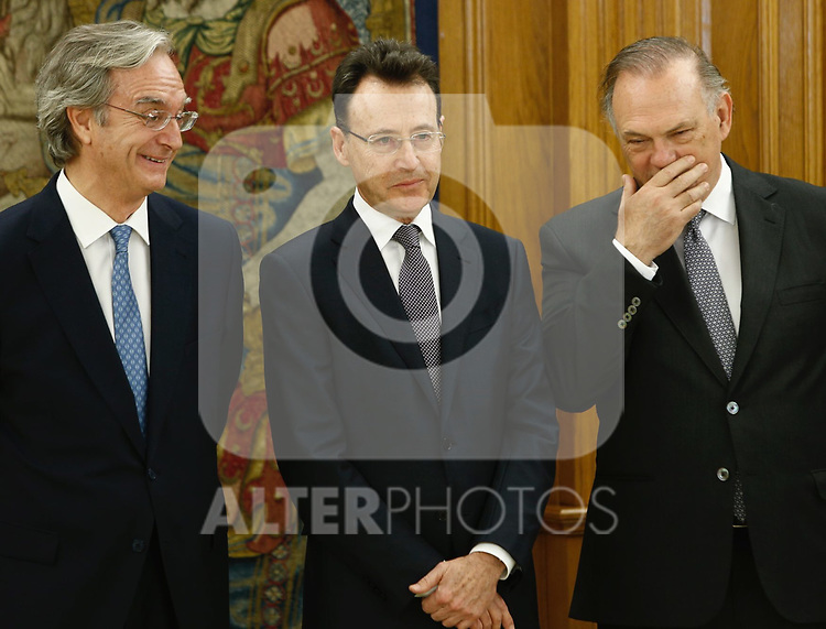 Matias Prats and Pedro Piqueras attends patronato of Fundacion Linea Directa and the jury of experts that grant the Journalistic award of road safety at Zarzuela palace in Madrid, Spain. March 16 2017. (ALTERPHOTOS/Rodrigo Jimenez)