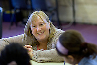 State Primary School.  Newly Qualified Teacher introduces herself to her first class.