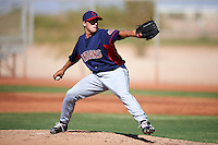 Cleveland Indians minor league pitcher Caleb Hamrick #43 during an instructional league game against the Cincinnati Reds at the Goodyear Training Complex on October 8, 2012 in Goodyear, Arizona.  (Mike Janes/Four Seam Images)