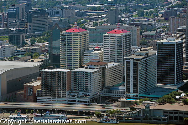 aerial photograph downtown Ohio riverfront Louisville, Kentucky