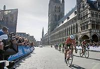 John Degenkolb (DEU/Trek-Segafredo) leading the race in the town center of Ieper<br /> <br /> 79th Gent-Wevelgem 2017 (1.UWT)<br /> 1day race: Deinze › Wevelgem - BEL (249km)
