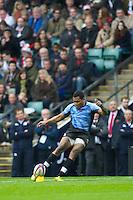 Metuisela Talebula of the Flying Fijians takes a penalty kick during the QBE International between England and Fiji at Twickenham on Saturday 10th November 2012 (Photo by Rob Munro)
