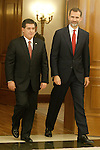 King Felipe VI of Spain received in the Zarzuela Palace to His Excellency the President of the Republic of Paraguay, Mr. Horacio Cartes, who officially visit Spain. June 6,2015. (ALTERPHOTOS/Acero)