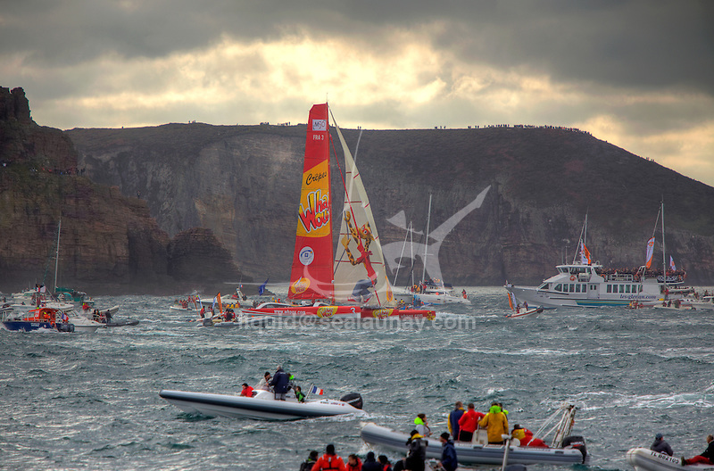 Crepe Whaou at the start of the Route du Rhum La Banque Postale 2010..The Route du Rhum is a transatlantic single-handed yacht race, which takes places every 4 years in November. The course is between Saint Malo, Brittany, France and Pointe-à-Pitre, Guadeloupe.
